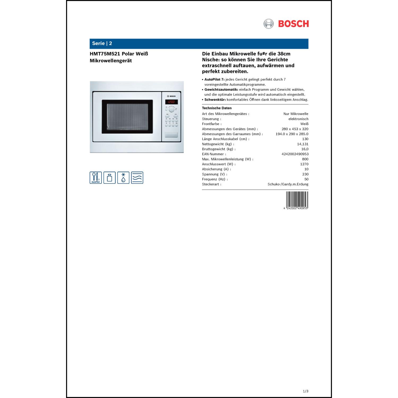 Bosch HMT75M521 polar weiß | electronic4you