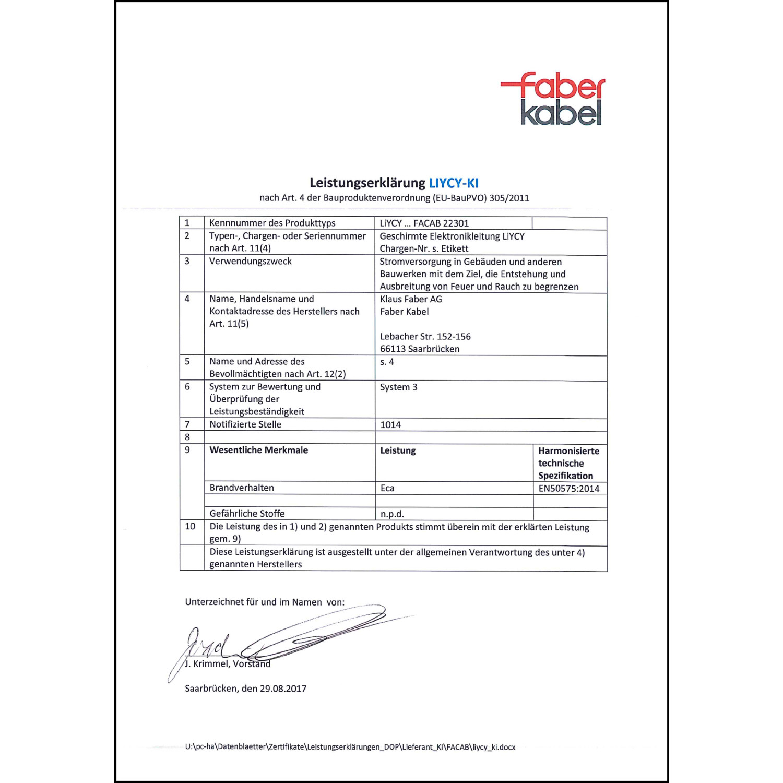 FABER PVC-Steuerleitung YSLY-JZ 4X0,75 grau 50m Ring