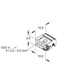K1001.4.06 KLEINHUIS MINICOM-VERB.KLEMME 4X0,6-0,8 GE Produktbild