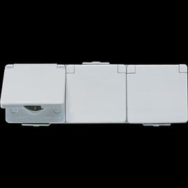 623W JUNG SCHUKOSTECKDOSE 3-FACH WAAGR. FR AP IP44 GRAU Produktbild
