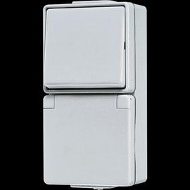 676W JUNG WECHSEL-SCHUKO-KOMBINATION FR AP IP44 GRAU Produktbild