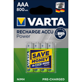 56703101404 VARTA RECHARGE ACCU Power (4STK.-BL.)800mAh Micro AAA Produktbild