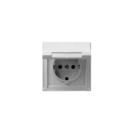 45465 GIRA SCHUKO-STECKDOSE M. KLAPPDECKEL FR UP TX44 ALU Produktbild