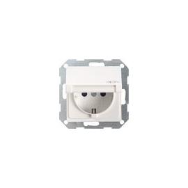 45403 GIRA SCHUKO-STECKDOSE M. KLAPPDECKEL SYSTEM 55 REINWEISS GLÄNZEND Produktbild