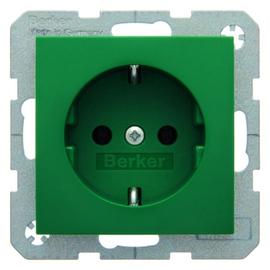 47438913 BERKER SCHUKO-STECKDOSE B1/S1 GRÜN GLÄNZEND Produktbild