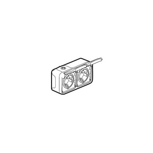 69772 LEGRAND FR AP SCHUKO- STECKDOSE 2-FACH WAAGRECHT ULTRAWEISS PLEXO IP55 Produktbild Front View L