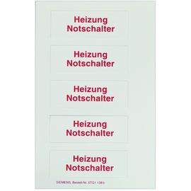 5TG1138 SIEMENS SCHRIFTEINLAGE HEIZUNGSNOTSCHALTER  I-SYSTEM Produktbild