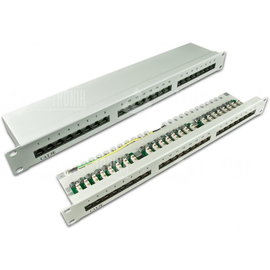 DVP-TRIO-K5E 24E WIREWIN 19Zoll PATCH- PANEEL 1HE CAT5E GESCHIR 24-PORT Produktbild