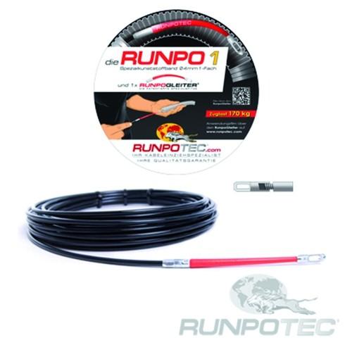 30029 RUNPOTEC RUNPO 1 Spezialkunststoff Band 4mm inkl. Runpogleiter 15 Meter Produktbild Front View L