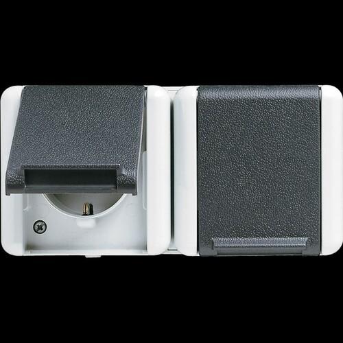 8220W JUNG SCHUKO-STECKDOSE 2-FACH FR AP IP44 Produktbild Front View L