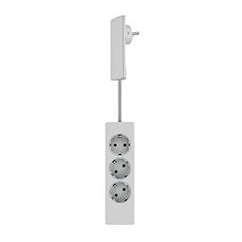 151000156300 Schulte EVOline Plug Flach- stecker, 3-fach Tischverteiler, weiß Produktbild