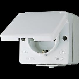 620W JUNG SCHUKOSTECKDOSE 1-FACH 16A 250V AP IP44 M. KLAPPDECKEL Produktbild