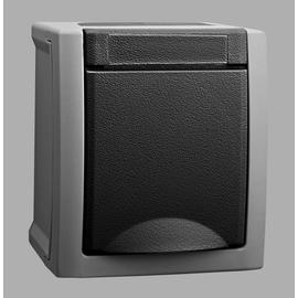 90591608 Viko Schukosteckdose mit Klappdeckel FR AP IP54 Pacific grau Produktbild