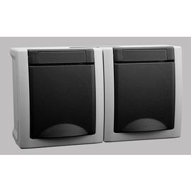 90591688 Viko Schukosteckdose 2-Fach FR AP IP54 waagrecht grau Produktbild
