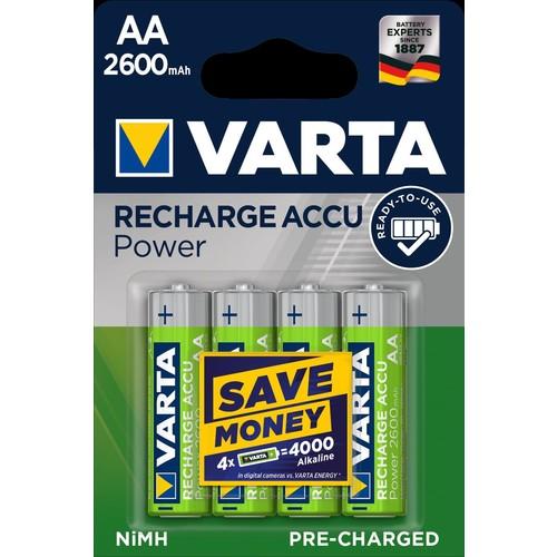 05716101404 VARTA RECHARGE AKKU Power AA (4STK.-BL.)2600mAh Mignon Produktbild