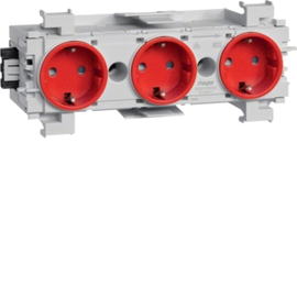 GS30013020 TEHALIT Steckdose 3-fach WA-Steck,Klemm,frontr,rot Produktbild