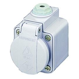 AM 10081 Mennekes Schuko-Aufbausteckdose grau 16A 2p+E 230V IP44 Produktbild