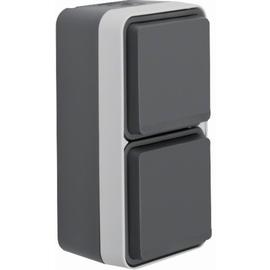47703525 BERKER W.1 FR AP SSD 2fach senkrecht, grau/lichtgrau matt Produktbild