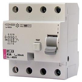 002062643 ETI FI-Schutzschalter EFI 4 B40/4/003 Typ B 40A 30mA 1kHz Produktbild