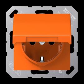 AS1520BFKLO JUNG Schuko-Steckdose m. Klappdeckel, 1-fach, orange, glänzend Produktbild