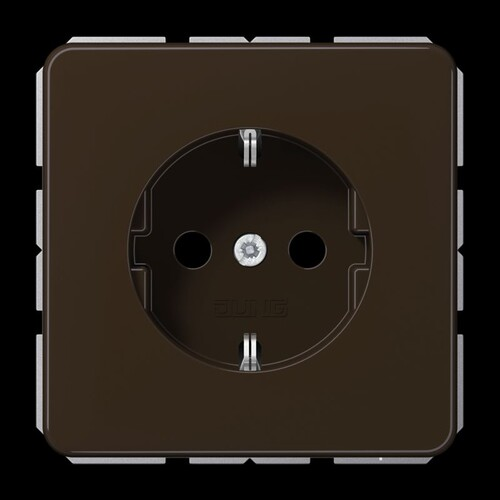 CD1520BR JUNG Schukosteckdose 1-fach, braun, glänzend Produktbild Front View L