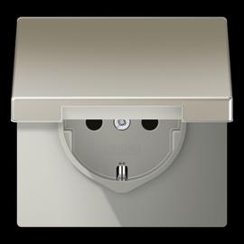 ES1520KIKL JUNG Schuko-Steckdose KI +Klappdeckel, 1-fach, edelstahl Produktbild