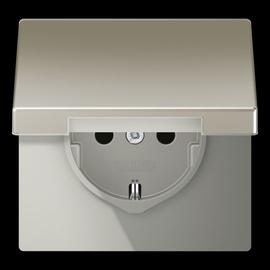ES1520KL JUNG Schuko-Steckdose mit Klappdeckel, 1-fach, edelstahl Produktbild