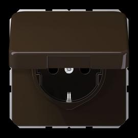 CD1520BFKIKLBR JUNG Schuko-Steckdose mit Klappdeckel, 1-fach, braun, glänzend Produktbild