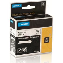 D18482 Dymo Rhino Band IND Polyester 9mm x 5,5m, schwarz auf weiß Produktbild