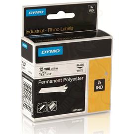 D18483 Dymo Rhino Band IND Polyester 12mm x 5,5m, schwarz auf weiß Produktbild