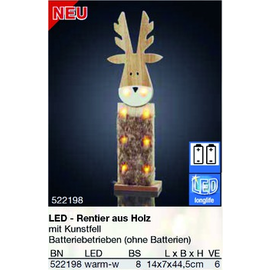 522198 Hellum LED Rentier aus Holz mit Kunstfell, ohne Batterien Produktbild
