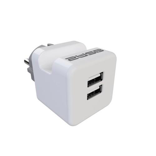 2U-449412 2USB Steckerladegerät EU2USB-A easyCharge Plugin +Handyhalter weiß/grau Produktbild