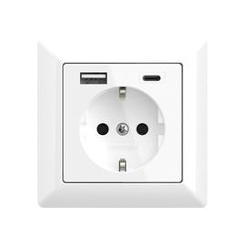 2U-449511 2USB Schukosteckdose JP-5503F inChargePro55 reinweiß glänzend USB A+C Produktbild