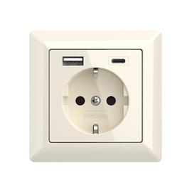 2U-449535 2USB Schukosteckdose JP-5503F inChargePro55 cremeweiß glänzend USB A+C Produktbild