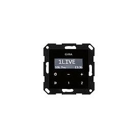 228405 GIRA UP Radio RDS ohne Lautsprecher System 55 Schwarzglasoptik Produktbild