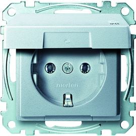 MEG2314-0460 Merten Schuko+Klappdeckel System M aluminium Produktbild