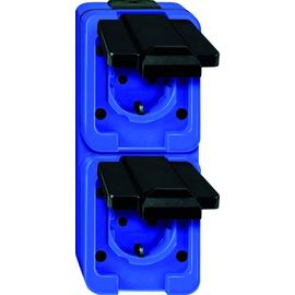 229286 Merten Schukodose 2-Fach FR AP senkrecht schlagfest blau Produktbild