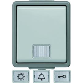 5TD4701 SIEMENS AP-FR Taster 10A 66x75mm DELTA Fläche grau m. weissem Fenster Produktbild