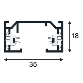 143021 SLV 1Ph Stromschiene alu L/B/H 200/3,5/1,8cm, weiß Produktbild