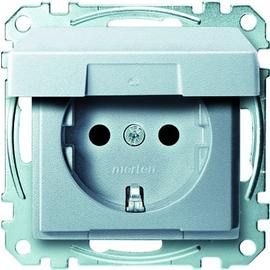 MEG2310-0460 Merten Schuko Steckdose m. Klappdeckel System M edelmatt aluminium Produktbild