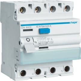 CDA440D HAGER FI-Schalter 4P 6kA 40A 30mA Typ A Produktbild