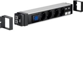 NRS6204D20 HAGER Anschlussblock,1xSch,4xSTD schw,2xCat.6 Produktbild