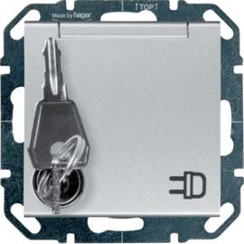 WYS126GS HAGER Steckdose gleiche Schließung, silber Produktbild
