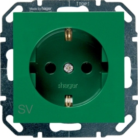 WYS204 HAGER Steckdose SV, grün Produktbild