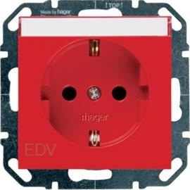WYS305 HAGER Steckdose m. Beschriftungsfeld, rot Produktbild