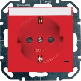 WYS345 HAGER Steckd., LED, Beschr.,Berührschutz, rot Produktbild