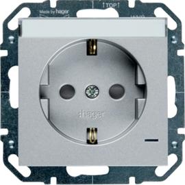 WYS346 HAGER Steckd., LED, Beschr.,Berührsch., silber Produktbild