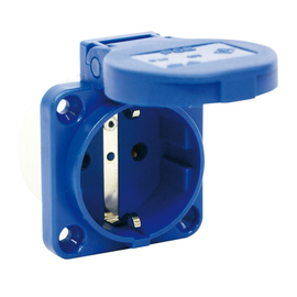 105-0b PCE Schuko-Steckdose blau IP54 rückw. Anschluss Flansch 50x50,LA:38x38 Produktbild