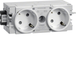 GS20109010 HAGER Kanalsteckdose 2-fach 45° Wago C-Profil rw Produktbild