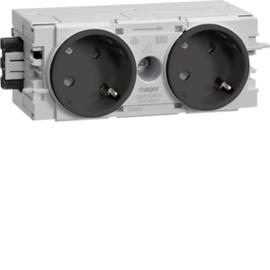 GS20109011 HAGER Kanalsteckdose 2-fach 45° Wago C-Profil gs Produktbild